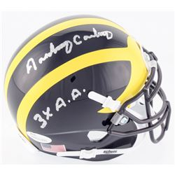 "Anthony Carter Signed Michigan Wolverines Mini Helmet Inscribed ""3X A. A."" (JSA COA)"