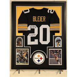 "Rocky Bleier Signed Steelers 34x42 Custom Framed Jersey Inscribed ""4x SB Champ"" (JSA COA)"