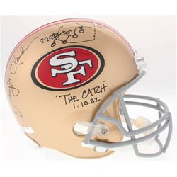 """Dwight Clark Signed 49ers Full-Size Helmet Inscribed """"The Catch 1.10.82"""" with Hand-Drawn Play (Radtk"""