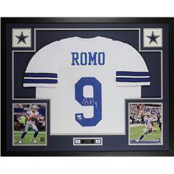 Tony Romo Signed Cowboys 35x43 Custom Framed Jersey Display (Beckett COA  JSA Hologram)