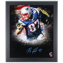 Rob Gronkowski Signed Patriots 27x23 Custom Framed Photo Display (Fanatics Hologram)