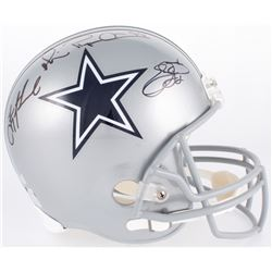 Emmitt Smith, Troy Aikman  Michael Irvin Signed Cowboys Full-Size Helmet (Radtke COA, Aikman  Smith
