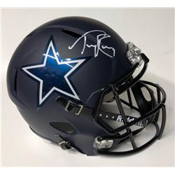 Tony Romo Signed Cowboys Matte Black Full-Size Speed Helmet (JSA COA)