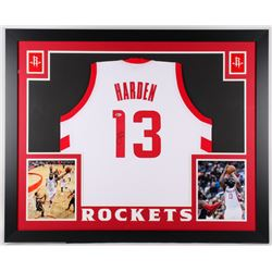 James Harden Signed Rockets 35x43 Custom Framed Jersey (Beckett COA)