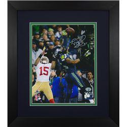 Richard Sherman Signed Seahawks 13.75x15.5 Custom Framed Photo Display (Sherman COA)