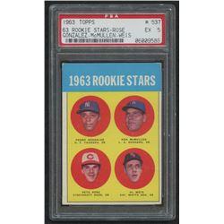 1963 Topps #537 Rookie Stars Pedro Gonzalez RC / Ken McMullen RC / Al Weis RC / Pete Rose RC (PSA 5)