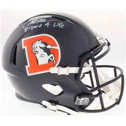"Terrell Davis Signed Broncos Full-Size Speed Color Rush Helmet Inscribed ""Bronco 4 Life"" (Radtke COA"