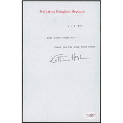 Katharine Hepburn Signed 5.5x8.5 Personal Letter (JSA COA)