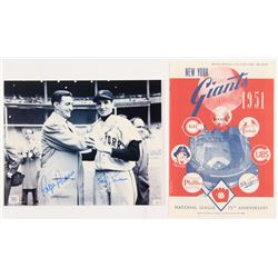 Lot of (2) Items with (1) Bobby Thomson  Ralph Branca Signed 8x10 Photo  (1) Reprint of the 1951 Gia