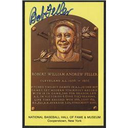 Bob Feller Signed Gold HOF Postcard (JSA COA)