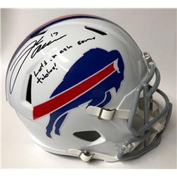 "Josh Allen Signed Bills Full-Size Speed Helmet Inscribed ""Let's Smash Some Tables!"" (JSA COA)"