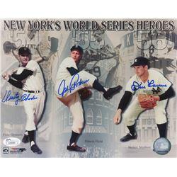 Dusty Rhodes, Johnny Podres,  Don Larsen Signed New York World Series Heroes 8x10 Photo (JSA COA)