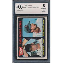 1965 Topps #477 Rookie Stars / Fritz Ackley / Steve Carlton RC (BCCG 8)