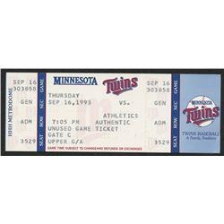 Dave Winfield's 3000th Hit 1993 Twins vs Athletics Original Full Ticket