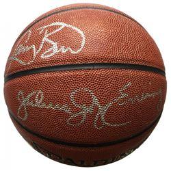 "Julius ""Dr J"" Erving  Larry Bird Signed Full-Size Spalding NBA Basketball (JSA COA)"