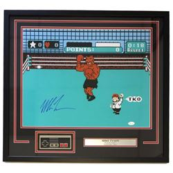 """Mike Tyson Signed """"Punch Out"""" 24x26 Custom Framed Photo Display with Nintendo NES Controller (JSA CO"""