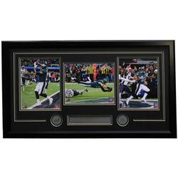 Carson Wentz, Nick Foles  Corey Clement Eagles 18x35 Custom Framed Photo Display