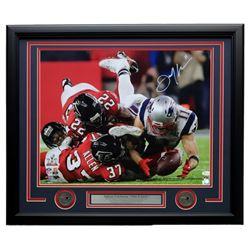 Julian Edelman Signed Patriots Superbowl LI 27x22 Custom Framed Photo Display (JSA COA)