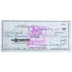 Joe Dimaggio Signed Personal Bank Check (Beckett LOA)