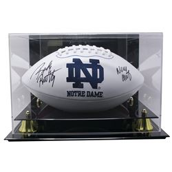 """Rudy Ruettiger Signed Notre Dame Fighting Irish Logo Football Inscribed """"Never Quit"""" with High Quali"""