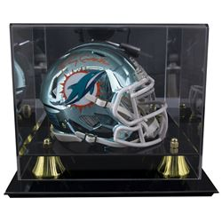 Larry Csonka Signed Dolphins Chrome Mini Helmet With Display Case (JSA COA)