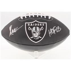 "Marcus Allen Signed Raiders Logo Black Leather Football Inscribed ""HOF 03"" (Radtke COA)"