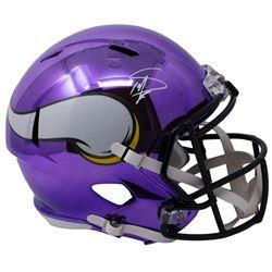 Stefon Diggs Signed Vikings Full-Size Chrome Speed Helmet (Sports Integrity COA)