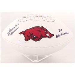 "Steve Atwater Signed Arkansas Razorbacks Logo Football Inscribed ""2x All American"" (Radtke Hologram)"