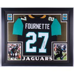 Leonard Fournette Signed Jaguars 35x43 Custom Framed Jersey (JSA COA)