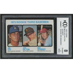 1973 Topps #615 Rookie Third Basemen / Ron Cey / John Hilton RC / Mike Schmidt RC (BCCG 8)