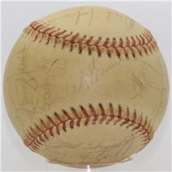 "1975 Yankees Baseball Signed by (24) with Jim ""Catfish"" Hunter, Thurman Munson  Graig Nettles (JSA L"