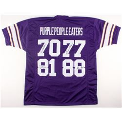"""Vikings """"Purple People Eaters"""" Jersey Signed by (4) with Alan Page, Gary Larsen, Carl Eller,  Jim Ma"""