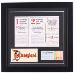 Disneyland 15.5x16 Custom Framed Pamphlet Display with Vintage Ticket Booklet  Sticker