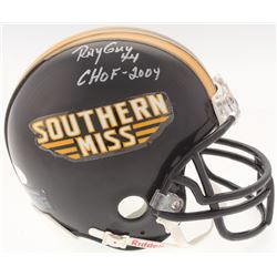 "Ray Guy Signed Southern Miss Golden Eagles Mini-Helmet Inscribed ""CHOF-2004 (JSA COA)"