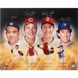 Hall of Fame Catchers 16x20 Photo Signed by (4) With Yogi Berra, Johnny Bench, Carlton Fisk,  Gary C