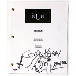 """Corin Hardy Signed """"The Nun"""" Full Movie Script with Hand-Drawn Sketch Inscribed """"BEWARE"""" (PSA COA)"""
