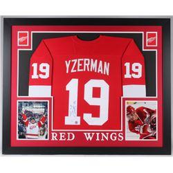 Steve Yzerman Signed Red Wings 35x43 Custom Framed Jersey (JSA COA  Yzerman Hologram)