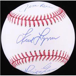 Jim Rice, Fred Lynn  Dwight Evans Signed OML Baseball (JSA COA)