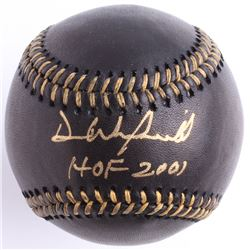 "Dave Winfield Signed Black Leather OML Baseball Inscribed ""HOF 2001"" (JSA COA)"