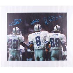 Emmitt Smith, Troy Aikman  Michael Irvin Signed Cowboys 25.5x30.5 Photo On Canvas (PSA Hologram)