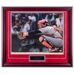 Carlton Fisk Signed Red Sox 23x27 Custom Framed Photo Display (JSA COA)