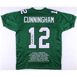Randall Cunningham Signed Eagles Career Highlights Stats Jersey (JSA COA)