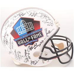Pro Football Hall of Fame Logo Full-Size Helmet Signed by (33) with Jim Kelly, Dick Butkus, Gale Say