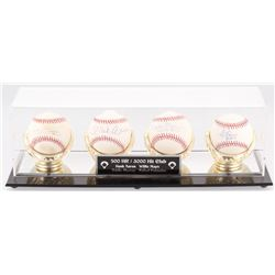 Lot of (4) OML  ONL Baseballs Signed by (4) with Rafael Palmeiro, Eddie Murray, Hank Aaron  Willie M