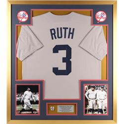 Babe Ruth Yankees 34x38 Custom Framed Jersey Display with (1) Replca Championship Ring