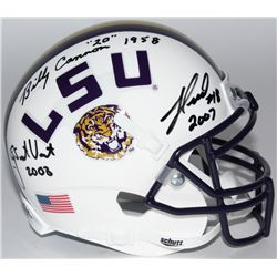 Billy Cannon, Jacob Hester  Justin Vincent Signed LSU Tigers Mini-Helmet With (3) National Champions