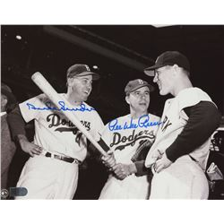 Duke Snider  Pee Wee Reese Signed Dodgers 8x10 Photo (AI Verified COA)