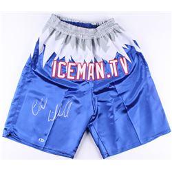 """Chuck Liddell Signed UFC """"Iceman.tv"""" Trunks (Beckett COA)"""