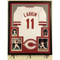 Barry Larkin Signed Reds 34x42 Custom Framed Jersey (JSA COA)