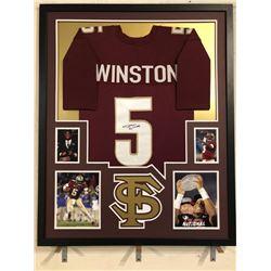 Jameis Winston Signed Florida State Seminoles 34x42 Custom Framed Jersey (JSA COA)